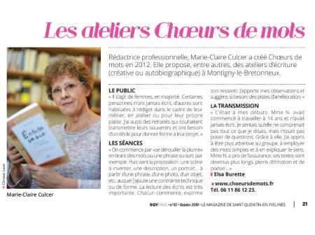 Marie-Claire Culcer à l'honneur dans le SQYMag